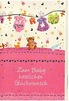 Geburt Mädchen: Wäscheleine rosa