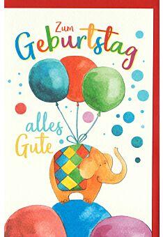 Karte Geburtstag Kind Luftballons, Elefant, Naturkarton