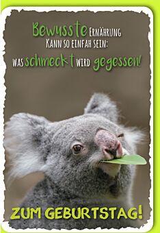 Glückwunschkarte Geburtstag Koala mit grünem Blatt