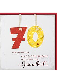 Geburtstagskarte 70 alle guten Wünsche und ganz viel Gesundheit