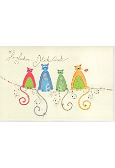 Glückwunschkarte Naturkarton vier Katzen