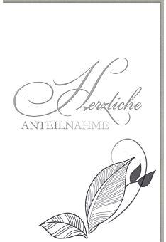 Trauerkarte Schriftkarte edel, mit Silberfolie, herzliche Anteilnahme