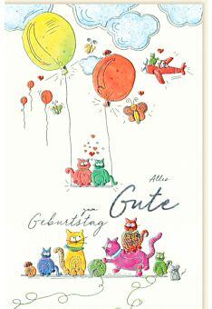 Geburtstagskarte für Kinder Katzen Ballons