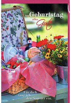 Geburtstagskarte Land Natur: Picknickkorb