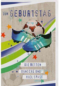 Geburtstagskarte für Fußballspieler Ball und Fußballschuhe