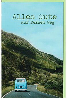 Karte Abschied Bus auf Straße durch die Berge