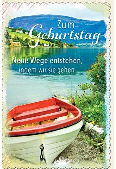 Glückwunschkarte Geburtstag Boot am Ufer vom See in den Bergen