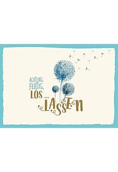 Postkarte Spruch Achtung, Fertig, Los...lassen