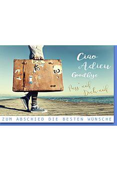 Abschiedskarte Kollege - Mann mit Reisekoffer