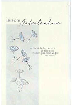 Kondolenzkarte Pusteblumen, Naturkarton, mit Silberfolie und Blindprägung