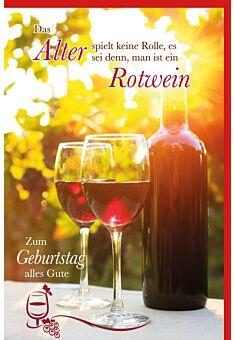 Glückwunschkarte Geburtstag Flasche Rotwein und zwei Weingläser in untergehender Sonne