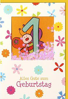 Geburtstagskarte für Kinder 1. Geburtstag - farbige Biene