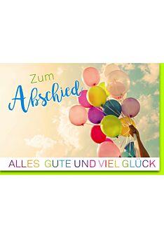 Abschiedskarte Kollege - Bunte Luftballons an Schnur