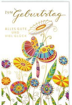 Glückwunschkarte Geburtstag Bunter Schmetterling auf bunten Blumen
