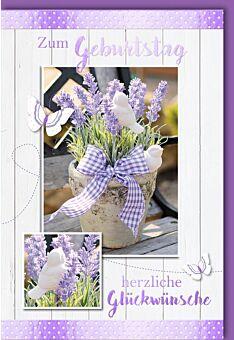 Glückwunschkarte Geburtstag - Lavendeltopf