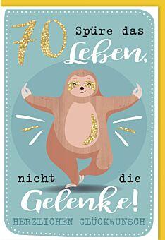 Geburtstagskarte - 70., Entspanntes Faultier