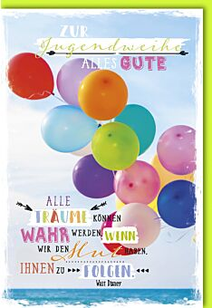 Glückwunschkarte Jugendweihe - bunte, fliegende Luftballons