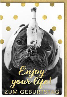 Geburtstagskarte lustig Spruch Bulldogge mit Bananenschale