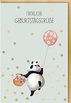 Karte Geburtstag Panda Korb Ballon