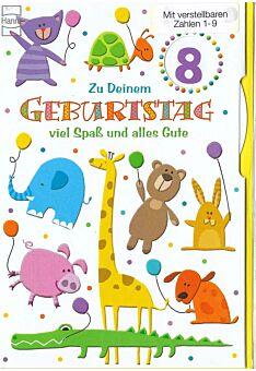 Geburtstagskarte zum 8. Geburtstag: bunte Tiere