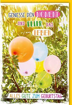 Geburtstagskarte Spruch bunte Luftballons im Baum