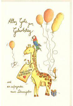 Karte Kindergeburtstag Kinder Giraffe Papagei