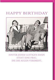 Geburtstagskarte lustig Oldschool: Pärchen auf Couch