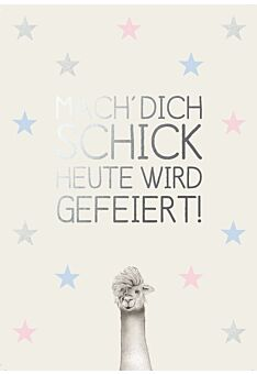 Postkarte Spruch Geburtstag Mach' Dich schick - Lama