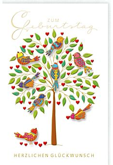 Glückwunschkarte GeburtstagBunte Vögel auf einem Baum, Naturkarton, mit Goldfolie und Blindprägung