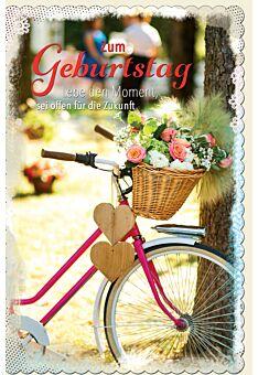 Glückwunschkarte Geburtstag Fahrrad mit Holzerherzen und Blumenkorb