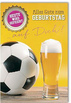 Geburtstagskarte Spruch Fußball und Bier