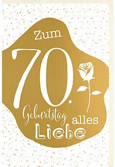 Geburtstagskarte 70 Jahre Verschiedene Schriften auf goldener Fläche, Punkte im Hintergrund, Rose, mit goldener Metallicfolie