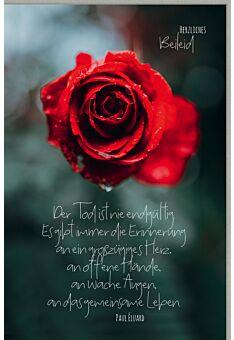 Trauerkarte Rose der Tod ist nie entgültig