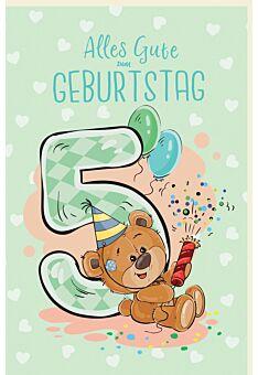 Geburtstagskarte für KinderTeddybär mit Partyhut und Rakete, Luftballons