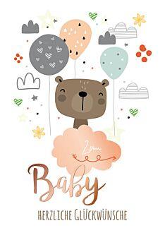 A4 Maxi Glückwunschkarte Geburt Luftballons, Wolken, Teddybär