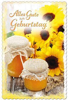 Geburtstagskarte: Sonnenblumen und Marmelade im Glas