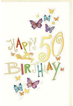 Geburtstagskarte 50 Jahre Schmetterlinge, Naturkarton, mit Goldfolie und Blindprägung