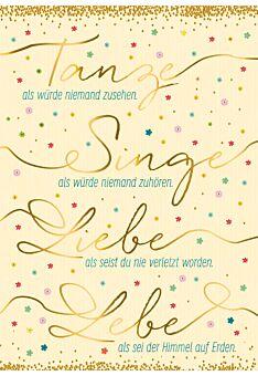 Postkarte Spruch Tanze als würde niemand zusehen