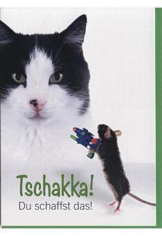 Aufmunterungskarte Tiere, Katze - Maus: Tschakka! Du schaffst das!