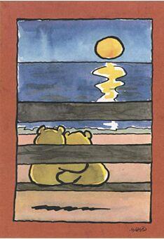 Jan Vis Cartoon Postkarte: Sonnenuntergang