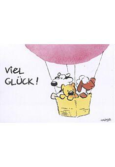 Jan Vis Cartoon Postkarte: Viel Glück!