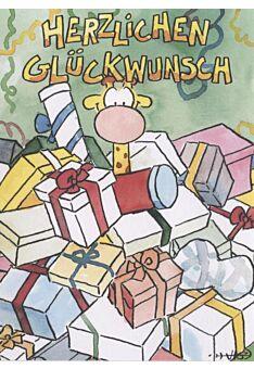 Jan Vis Cartoon Postkarte: Herzlichen Glückwunsch, Geschenke