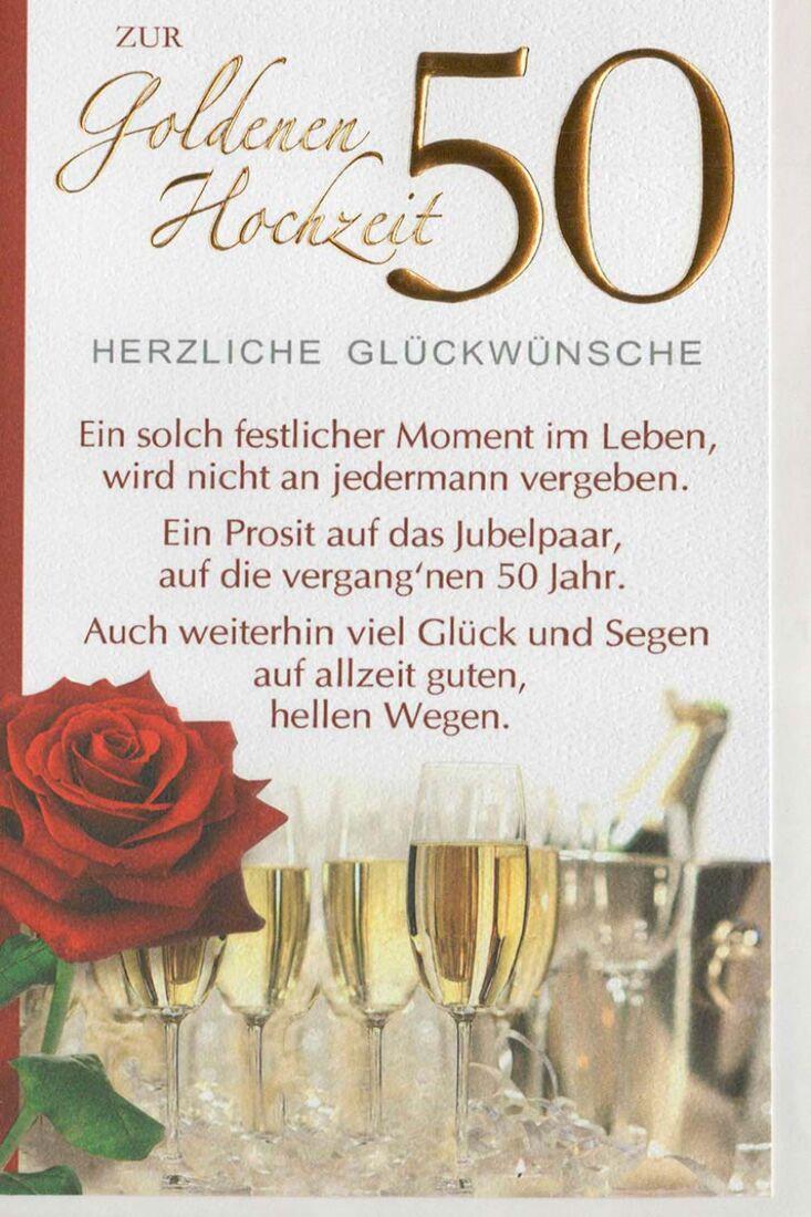 Glückwunschkarte goldene Hochzeit mit festlichem Spruch