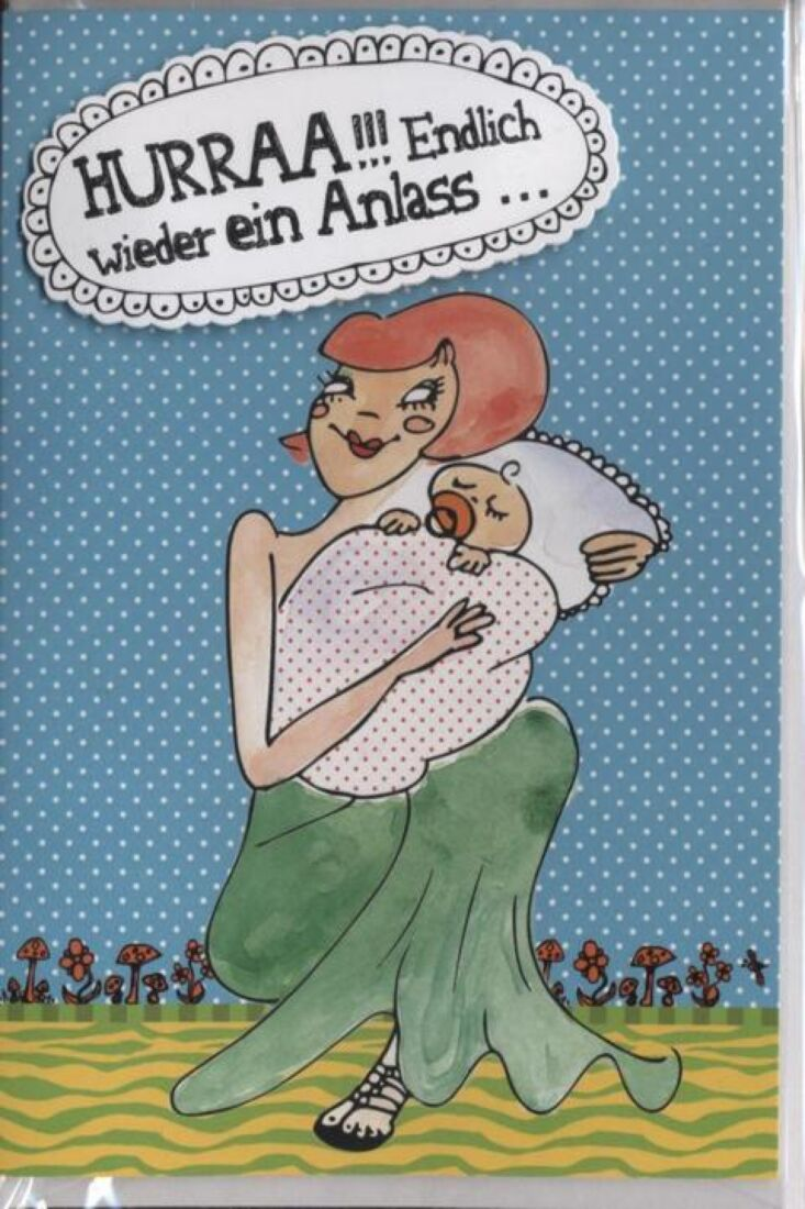 Glückwunschkarte Geburt Baby lustig mit Innentext