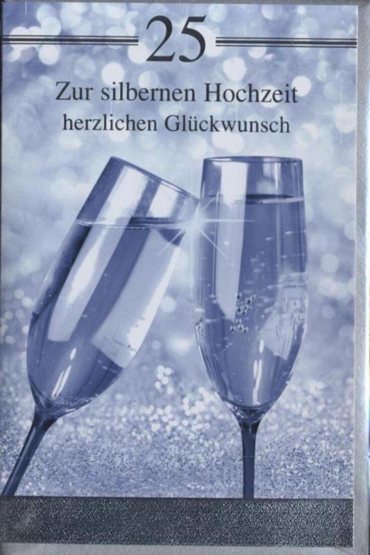 Glückwunschkarte zur Silberhochzeit: Zur silbernen Hochzeit herzlichen Glückwunsch