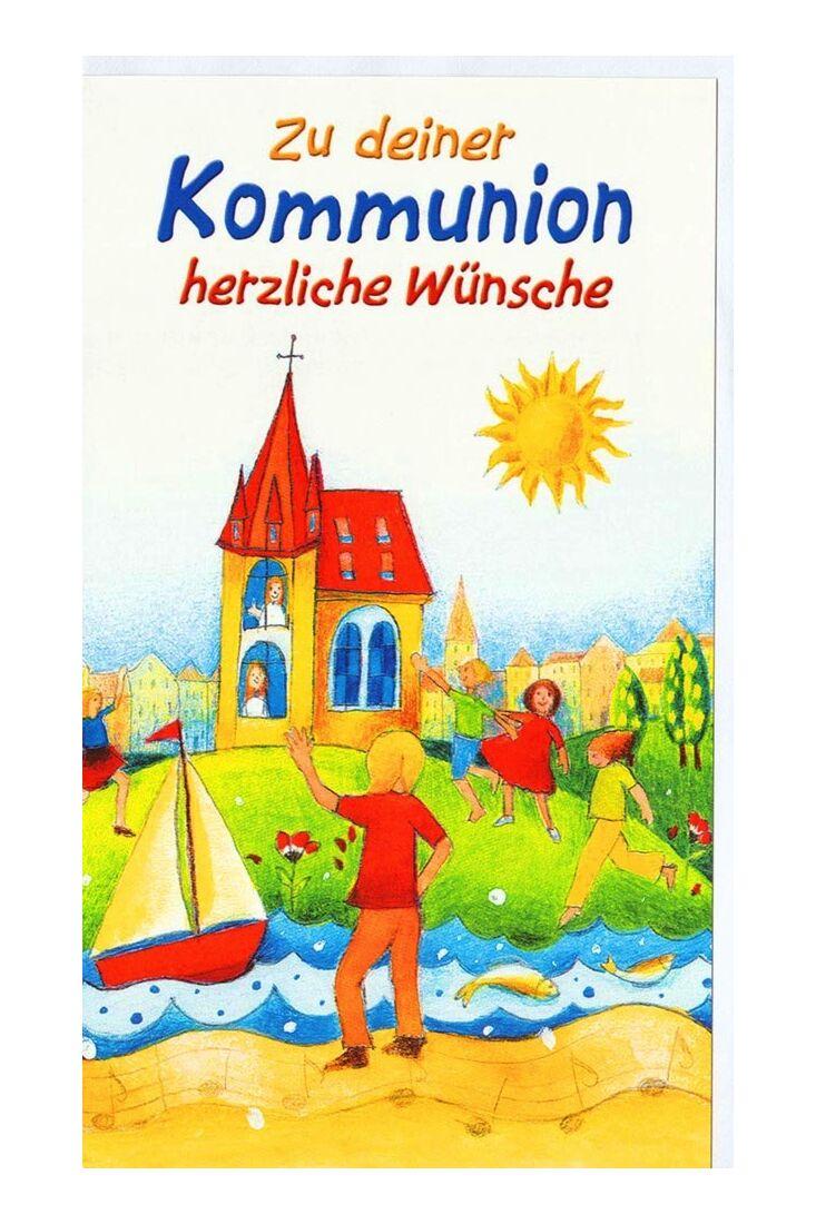 Karte Kommunion Kinder Fluß Boot Kirche