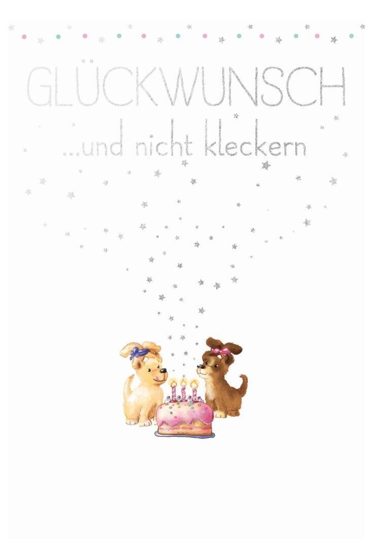 Geburtstagspostkarte Spruch 2 Welpen Glückwunsch