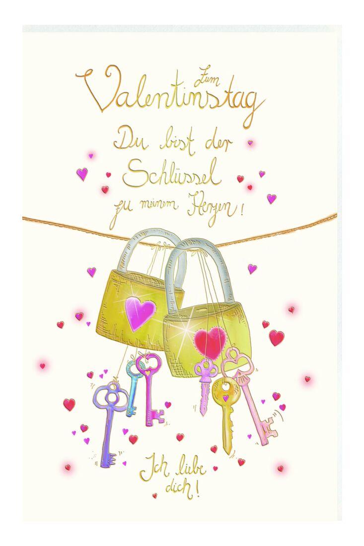Karte Valentinstag Schlüssel zum Herzen