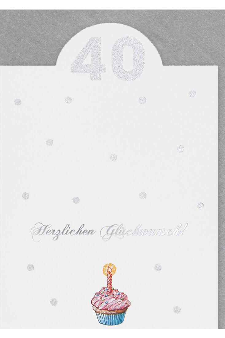 Geburtstagskarte zum 40 Geburtstag Aufsteller Premium Glitzerlack