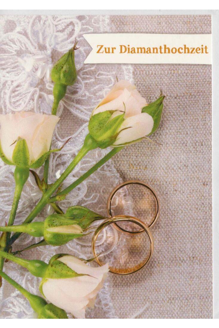 Glückwunschkarte Diamanthochzeit zwei Ringe auf Tisch